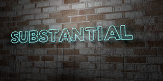 SUBSTANTIAL - Glowing Neon Sign on stonework wall - 3D rendered royalty free stock illustration Stock Photos