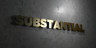 Substantial - Gold text on black background - 3D rendered royalty free stock picture Stock Photography