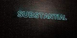 SUBSTANTIAL -Realistic Neon Sign on Brick Wall background - 3D rendered royalty free stock image Royalty Free Stock Photography