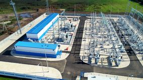 Substation accepts, transforms and distributes energy stock footage