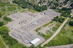 Substation - Aerial View. Electrical substation on top of a hill Stock Photos
