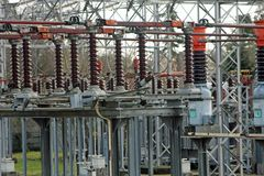 Substation with big switches and breakers Royalty Free Stock Photos