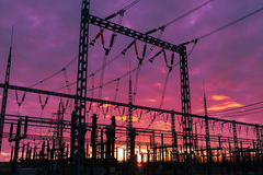 Substation on the dramatic sky background Royalty Free Stock Photo