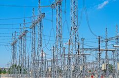 Substation high voltage Royalty Free Stock Photo