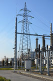 Substation 110/20kV and pole. Royalty Free Stock Photos