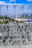 The Substation and  Power Transmission Lines. Stock Photography