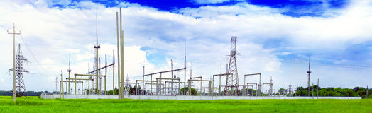 The Substation and  Power Transmission Lines. Royalty Free Stock Photography