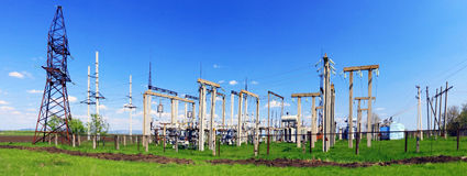 The Substation and Power Transmission Lines. Panorama Royalty Free Stock Photos