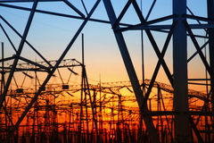 Substation silhouette Royalty Free Stock Image