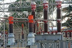 Substation with switches and breakers Stock Photography