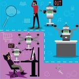 A substituição, ocupações humanas será substituída por robôs - vec ilustração do vetor