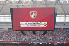 Substitute by Abby Wambach  at Final FIFA Women's World Cup. Substitute by Abby Wambach that declared Canada 2015 to be her last tournament. Wambach together Royalty Free Stock Photography