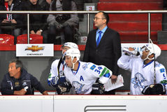 Substitutes Barys players watch the game Royalty Free Stock Photography