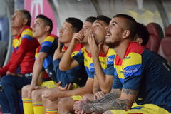 The substitution bench of the soccer team of Romania Royalty Free Stock Photos