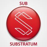 Substrata cryptocurrency blockchain Mennicza ikona Wirtualny elektroniczny, internet pieniądze, lub cryptocoin symbol, logo ilustracja wektor