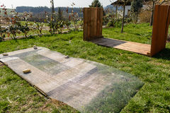 Substructure of a raised bed - building instructions. Raised bed construction manual - substructure Vole grate and wooden raised bed Royalty Free Stock Photography