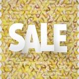 Subtítulo da venda do vetor no fundo triangular dourado Foto de Stock Royalty Free