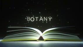 Subtítulo de la botánica hecho de letras que brillan intensamente del libro abierto animación 3D ilustración del vector