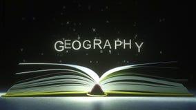 Subtítulo de la GEOGRAFÍA hecho de letras que brillan intensamente del libro abierto animación 3D stock de ilustración