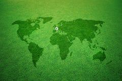 Subtítulo do futebol de Europa do mapa do mundo imagens de stock