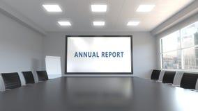 Subtítulo do INFORME ANUAL na tela em uma sala de reunião ilustração royalty free