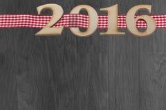 subtítulo 2016 en fondo de madera Imagen de archivo