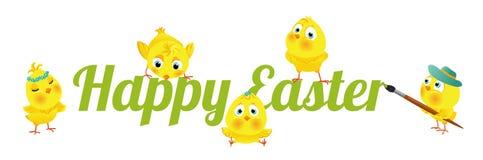 Subtítulo feliz de Pascua con los polluelos divertidos libre illustration