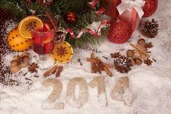 Subtítulo veinte catorce en la nieve Imágenes de archivo libres de regalías