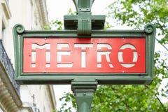 Subterráneo de París, muestra del metro Foto de archivo libre de regalías