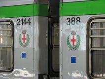Subterráneo Linea Verde de Milano Foto de archivo