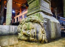 Subterranean Basilica Cistern. Istanbul, Turkey. Sideways head of Medusa located at the northwest edge of the subterranean Basilica Cistern, also known as stock photo