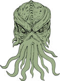 Subterranean Sea Monster Head Drawing. Drawing sketch style illustration of a head of a subterranean mythical sea monster with octopus-like head whose face has Royalty Free Stock Photography