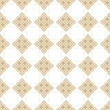 Subtiel gouden vector naadloos patroon met diamantvormen, sterren, bloemencijfers vector illustratie