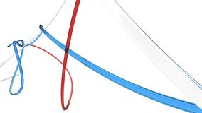 Subtle abstract glass sweeps - red, white and blue. On white background stock illustration