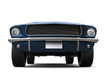 Subtle blue - American vintage muscle car - front view low angle closeup shot Royalty Free Stock Photos