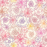 Subtle field flowers seamless pattern background. Vector subtle field flowers elegant seamless pattern background with hand drawn line art floral elements Stock Photography