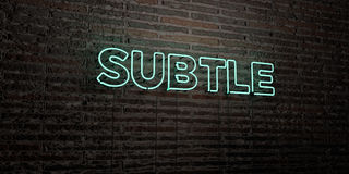 SUBTLE -Realistic Neon Sign on Brick Wall background - 3D rendered royalty free stock image. Can be used for online banner ads and direct mailers vector illustration