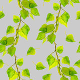 Subtle spring patterned design with fresh green leaves Stock Image