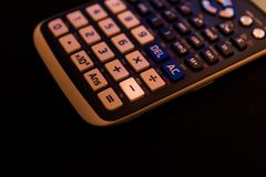 Subtract key from the keyboard of a scientific calculator stock photos