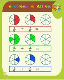 Subtracting Fractions Mathematical Worksheet. Triangles. Coloring Book Page. Math Puzzle. Educational Game. Vector illustration.Pr vector illustration
