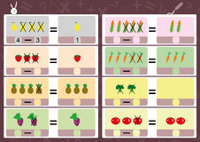 Subtracting using pictures, math worksheet for kids Royalty Free Stock Photo