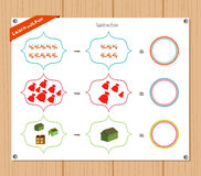 Subtraction number - Worksheet for education Stock Photo