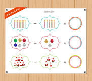 Subtraction number - Worksheet for education Royalty Free Stock Image