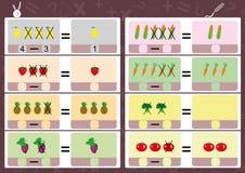 Subtrahera genom att använda bilder, matematikarbetssedel för ungar Royaltyfri Foto