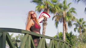 The subtropical climate beautiful girl enjoying the sun stock video footage