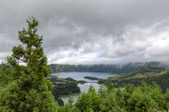 Subtropical Sao Miguel. Clouds moving quickly through the Sete Cidades caldera royalty free stock photo