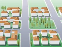 Suburb 2. Illustration of suburb buildings design for real estate Royalty Free Stock Photo