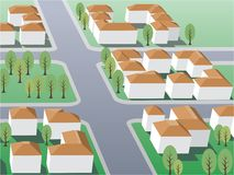 Suburb. Illustration of suburb buildings design vector