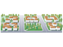 Suburb. Illustration of suburb buildings design for real estate Stock Image