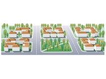 Suburb. Illustration of suburb buildings design for real estate